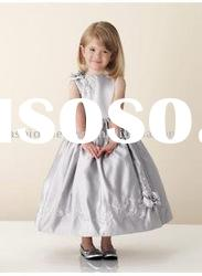 VF112 Beautiful sleeveless embroidery taffeta flower girl dress