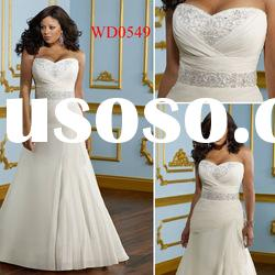 WD0549 A-Line Plus Size Chiffon Crystal Belts for Wedding Dresses