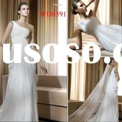 WD0591 One-Shoulder White Organza Sheath Gathered Organza Wedding Dress