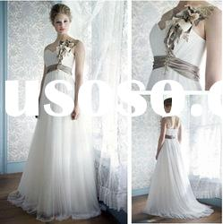 WD5689 Sweetheart Court Train Tulle One Shoulder Wedding Dress