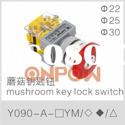 Y090-A-11YM mushroom key lock switch,KEY SWITCH,mushroom switch with key