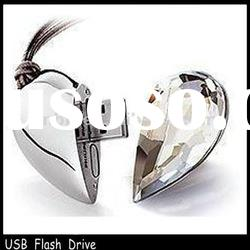 fashionable jewelry heart shape usb flash drive paypal accept