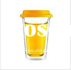 heat resistant mouth blown double wall glass cup with silica gel lid