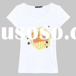high quality TC newest style short sleeve fashion T shirt for women
