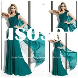 2012 New Green Evening Dress Prom One Shoulder Custom