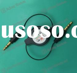 3.5mm stereo retractable earphone plug cable,stereo audio phone can retractable cable