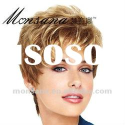 Beautiful and cool short blond kinky curl human hair wigs for women