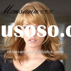 Charming and long blond kinky curl human hair wigs for women