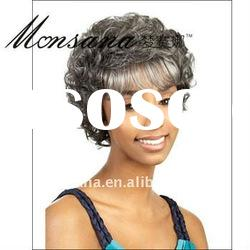 Charming and short curly dark brown human hair full lace wig for black ladies