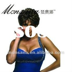 Charming short dark brown curly human hair wigs for black women