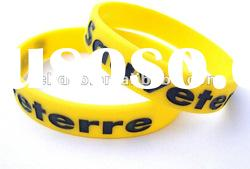 Debossed silicone bracelet filled with colour