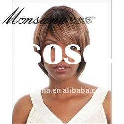 Short and brown human hair full lace wig for black ladies