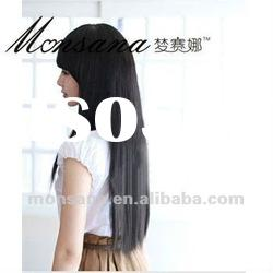 Wholesale long black silky straight wave human hair wigs for women