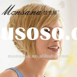 Wholesale short blond kinky curl human hair wigs for women