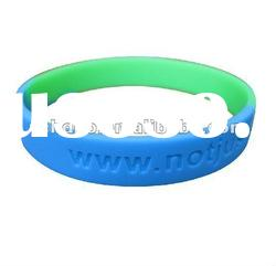 embossed and debossed logo and text silicone wristband