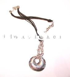 fashion alloy chain necklace with overlaped ring