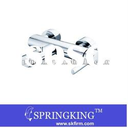 2012New Style Brass Satin polish Wall Mount Bath&Shower Faucet with hand shower