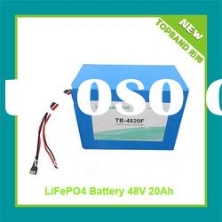 2012 New LiFePO4 48V 20Ah rechargeable battery 16S1P for Motorbike with PCM+Charger