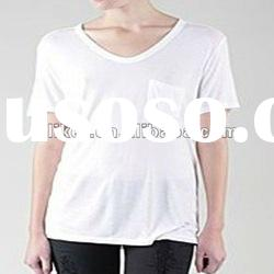 2012 fashion 100% cotton Ladies' V-neck T-shirt