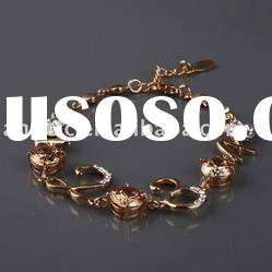 2012 fashion copper alloy bracelet zircon bangle gold&silver jewelry