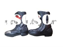 Flat black leather boots/motorcycle racing boots/mens leather riding boots