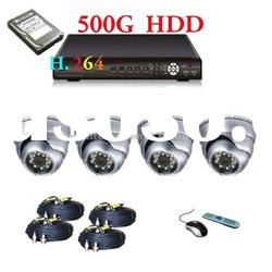 H.264 4CH DVR Stand Alone with Dome Camera Security System with 500G HDD