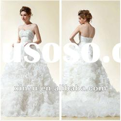 Low Back Sweetheart Beaded Crystals Ruffle Organza Ball Gown Wedding Dresses