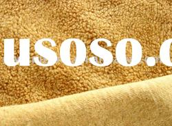 Polyester weft-knitted terry brushed sherpa fleece fabric