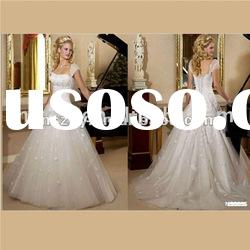 Popular Wholesale Cap sleeve A line Tulle Petal Romantic wedding dresses XY238