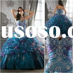 QD027 western fairy crystal organza ball gown royal blue quinceanera dresses