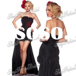 Strapless A-line ruffle natural waist with beaded Taffeta short front long back prom dresses 2012