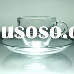 glass cup with saucer set