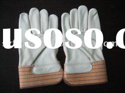 quality grain cowhide leather work glove for heavy duty work