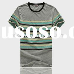 100% cotton grey and green solid color T shirt for men shirts