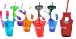 16OZ Plastic double wall acrylic straw cup
