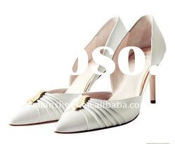 2012 withe leather ladies high heel wedding shoes