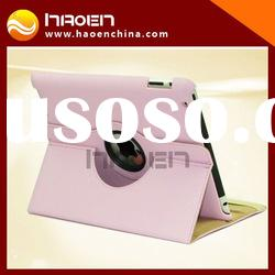 360 rotating leather case for new ipad 3 case/pink color