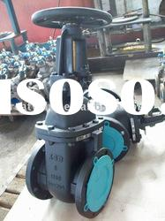 ANSI cast iron gate valve OS&Y solid wedge disc flanged ends