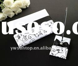 Black & white design wedding guest book with pen wedding gifts