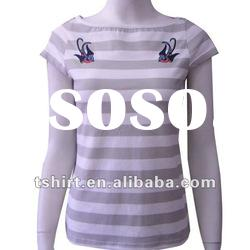 Cheap fashion striped designer women t shirts with pattern