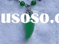 Fashion Natural newest semi-precious chili/pepper shape green agate pendant jewelry