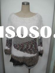 Fashion sweater pullover long sleeve polyester & acrylic