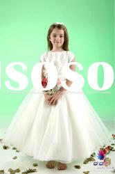 Hand-made Lace and Organza gown featuring a lace overlay real sample flower girl dress