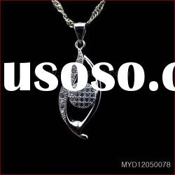 Hot sale 925 sterling silver jewelry pendants with CZ,925 silver pendant necklace