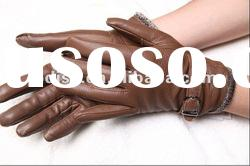Lady deerskin leather gloves and wool cloth with soft nap warm winter with cotton gloves