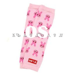 Lovely Pink w rabbits Knitted Baby Leg Warmers
