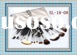 New 18 Pcs professional goat hair Makeup cosmetic brush set grey leather case with two straps