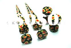 New arrival zebra printed faux tapers and plugs in set body jewelry
