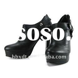Popular real leather black high heel women ankle boots