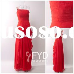 Red Chiffon Pleated Long Prom Dress